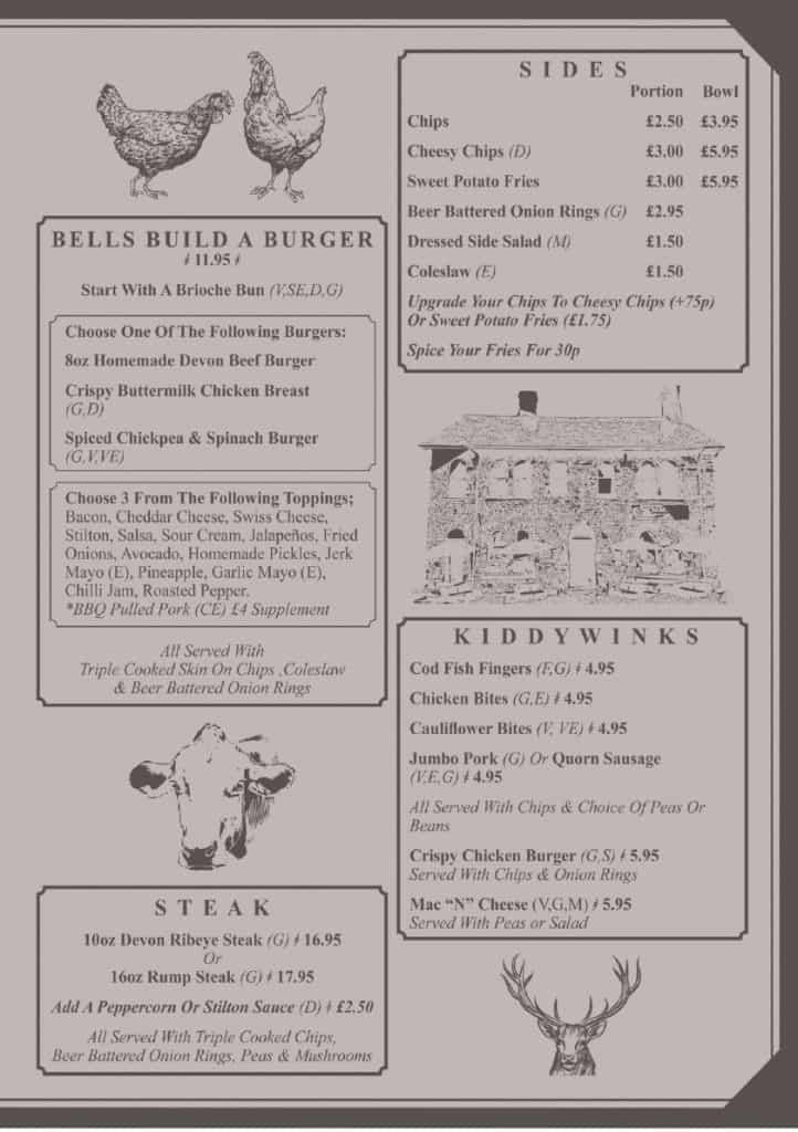 The Bell Inn Chittlehampton Summer 2021 Menu 3