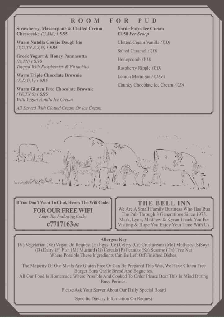 The Bell Inn Chittlehampton Summer 2021 Menu 4