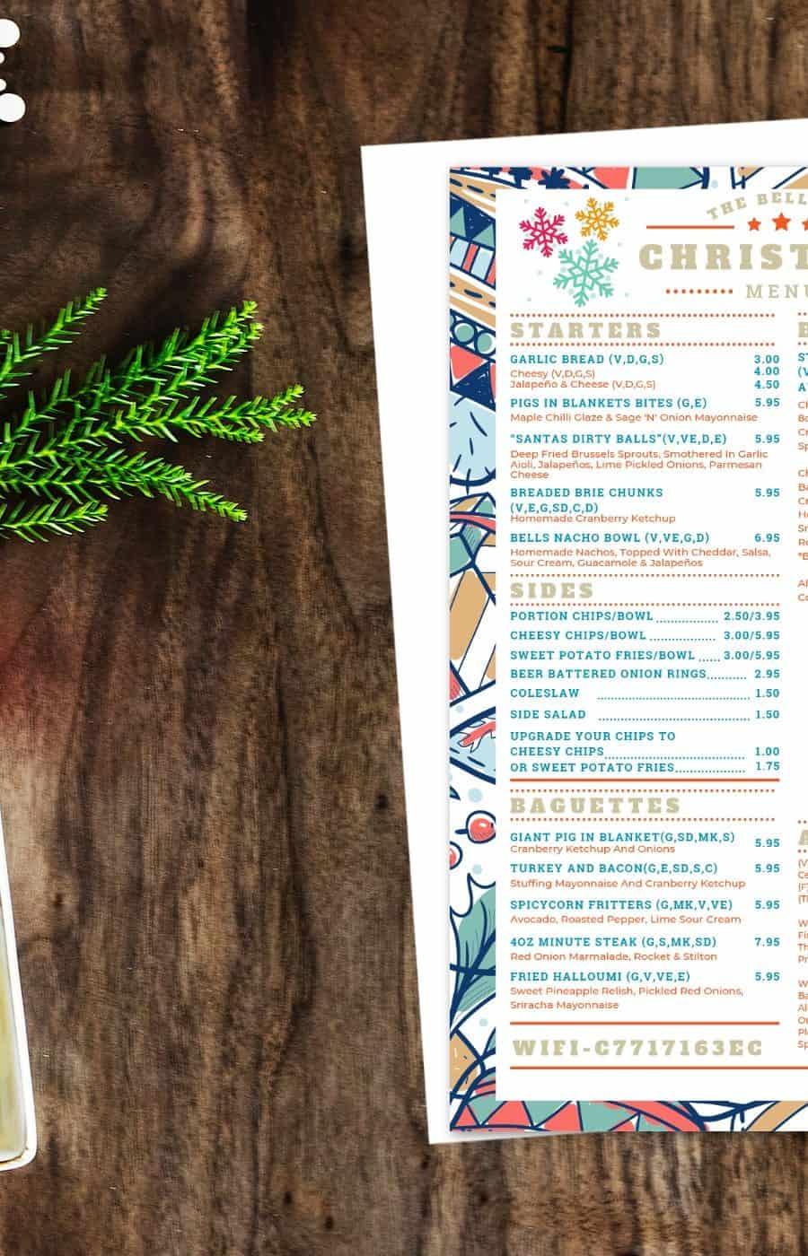 Christmas menu at The Bell